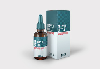 Dropper Bottle and Packaging Mockup