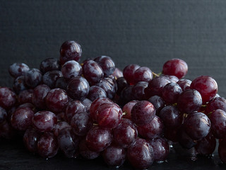 beautiful bunch of dark grapes, close-up