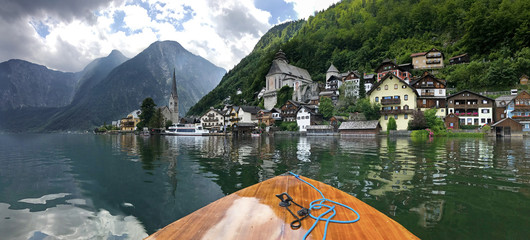 Hallstatt mountain village on Hallstaetter Lake in the Austrian Alps, region of Salzkammergut, Austria