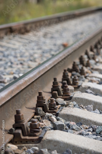 Closeup of straight railways  Selective field of focus