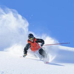 Könner auf Telemark-Skiern im Pulverschnee