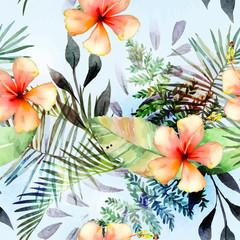 Tropical plants flowers seamless pattern