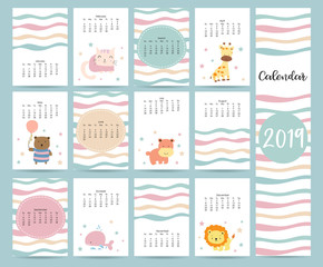 Cute monthly calendar 2019 with bear,cat,giraffe,hippopotamus,lion,whale and balloon.Can be used for web,banner,poster,label and printable