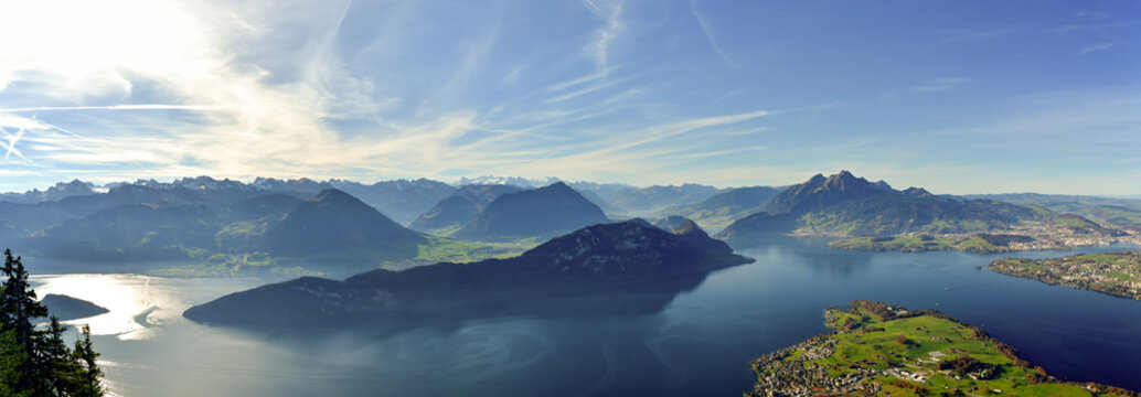 Panoramic view on Lake Lucerne, Mount Pilatus and Swiss Alps