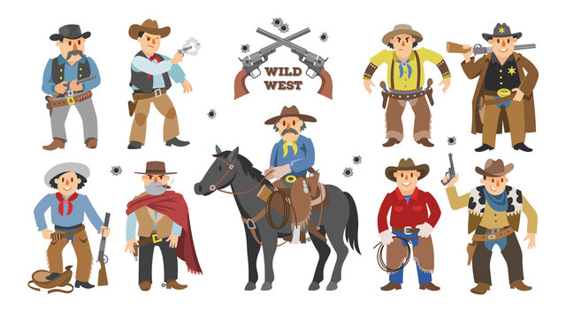 Cowboy vector western cow boy on wildly horse character for rodeo and wild west sheriff in hat illustration wildlife set of cartoon wildwest man with gun isolated on white background