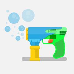 soap bubbles gun vector flat design.