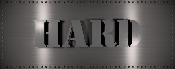 """Brushed steel plate with rivets around it and the word """"HARD"""" , useful for many applications"""