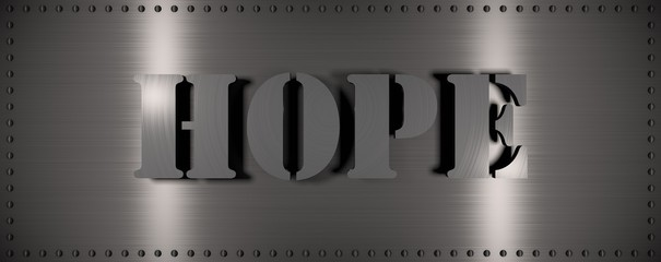 "Brushed steel plate with rivets around it and the word ""HOPE"" , useful for many applications"