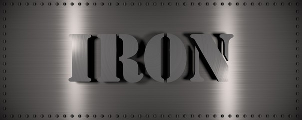 "Brushed steel plate with rivets around it and the word ""IRON"" , useful for many applications"