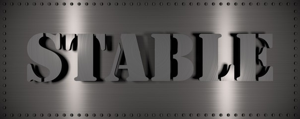 "Brushed steel plate with rivets around it and the word ""STABLE"" , useful for many applications"