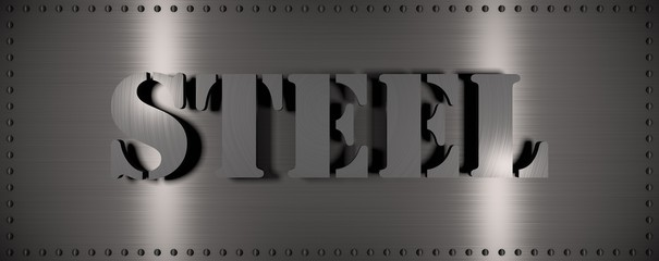 "Brushed steel plate with rivets around it and the word ""STEEL"" , useful for many applications"