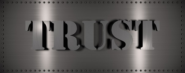 "Brushed steel plate with rivets around it and the word ""TRUST"" , useful for many applications"