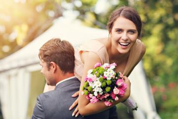 Beautiful wedding couple enjoying wedding