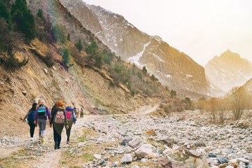 Hikers in the mountains.