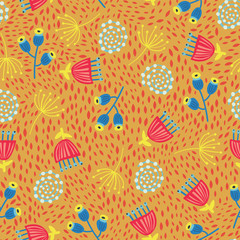 Scandinavian flowers seamless vector background. 1960s, 1970s retro floral fall autumn pattern. Yellow, red, and blue doodle vintage flowers on gold. Trendy art for fabric, paper, web banner, kids