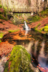 Dancing autumn leaves / Autumn view with a river and a small waterfall, Bulgaria