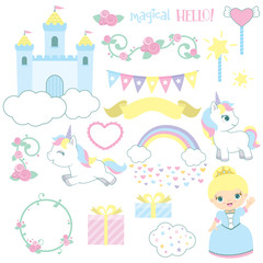 Cute Fairy Tale Castle Princess Unicorn Birthday Design Elements Set Vector Illustration Isolated on White