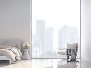 Minimal white bedroom with city view 3d render, Decorate with white fabric furniture ,The room has large windows,Sunlight shines into the room. Fototapete