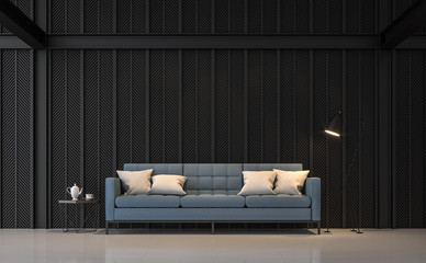 Wall Mural - Modern living room 3d render.There are white floors , Decorate wall with pattern of  black steel slats.Furnished with blue fabric sofa.