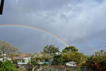 Cloudy sky with rainbow