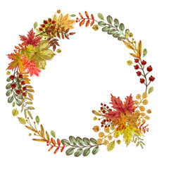 Autumn Leaves, Twigs and Berries Wreath Isolated on White. Watercolor Botanical Arrangement for Print, Card, Invitation, Announcement, Poster, Display and other Creative Design.