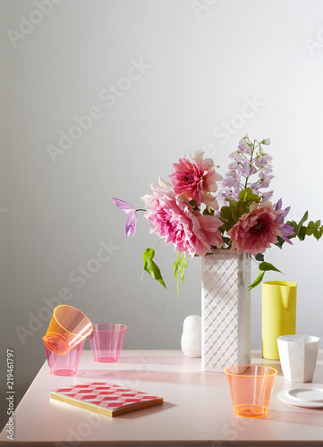 Still Life With Vase And Flowers Stock Photo And Royalty Free