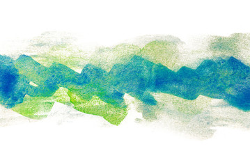 green blue strip of watercolor abstraction. for cards of cards with a place for design