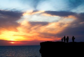 People sightseeing dawn