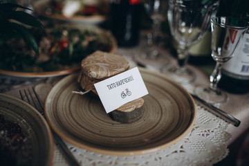 wedding table decoration in a wooden style