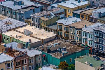 Colorful houses and roofs in San Francisco