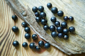 Berries fresh organic black currant lie on a wooden the surface.