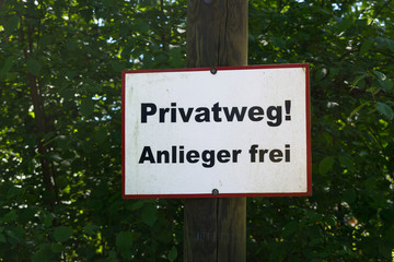 Private way sign in german