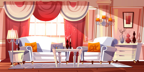 Lounge room luxury interior vector illustration or classical empire style apartments. Cartoon comfortable living room or royal palace chamber background with modern or white retro furniture