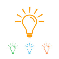 Good ideas colored line icon. Solution symbol, shine lamp, colorful sign light bulb. Vector illustration