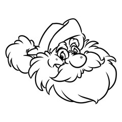 Emblem head Santa Claus Christmas happiness cartoon illustration isolated image coloring page