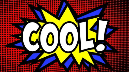 A comic strip cartoon animation, with the word Cool appearing. Green and halftone background, star shape effect.