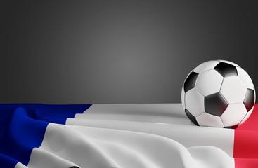 french soccer ball and flag 3d-illustration