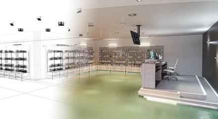 Progetto Farmacia, Industria Farmaceutica, Prodotti, Farmaci, Medicine, Illustrazione 3d, BIM
