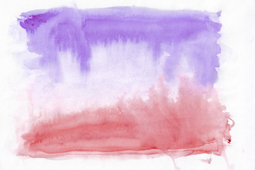 Crimson (or red) and violet (lavender) mixed abstract watercolor background. It's useful for greeting cards, valentines, letters. Horizontal gradient art style handicraft pattern