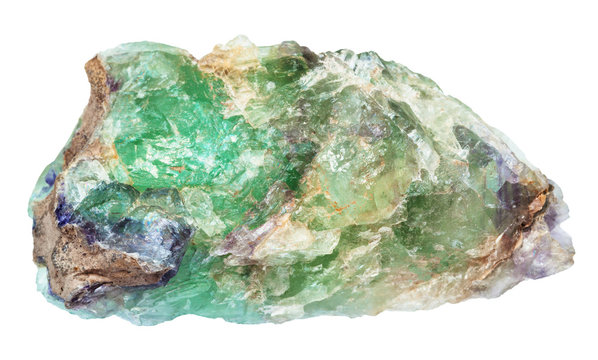 raw green Beryl gemstone isolated