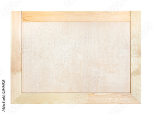 frame with natural birch wood canvas isolated\