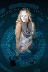 Female Robot portrait on cyber background