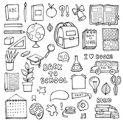 Back to school. Education items. Hand Drawn Doodle school supplies Vector Set.