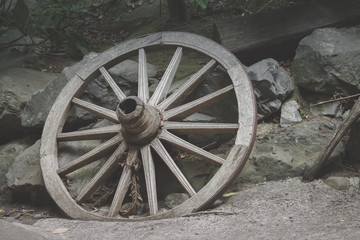 Background image of an old wooden wagon wheel with copy space