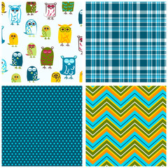 Owl seamless pattern with coordinating plaid, chevron and polka dot print. Four pattern swatches for fabric, scrapbooking, gift wrap, kids apparel and more.