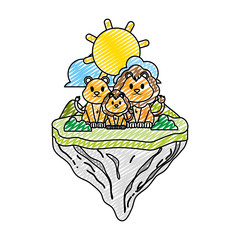 doodle family lion animal in float island