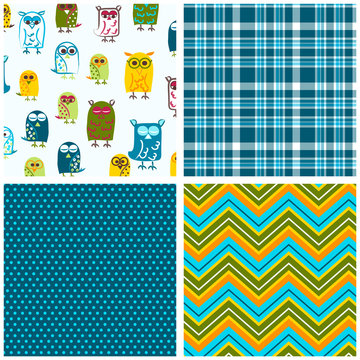 Owl seamless pattern set. Repeating patterns for fabric, kids apparel, gift wrap, backgrounds, scrapbooking and more. Owl, plaid, polka dot and chevron print. Sweet, cute, pattern collection.