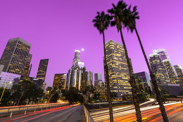 Los Angeles downtown buildings skyline evening Wall mural