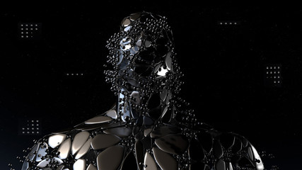 Artificial intelligence, machine learning, virtual human with connection data