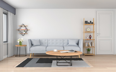 gray sofa and pillow in white living room, 3D rendering
